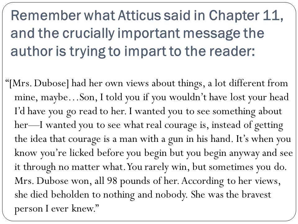 Remember what Atticus said in Chapter 11, and the crucially important message the author is trying to impart to the reader: