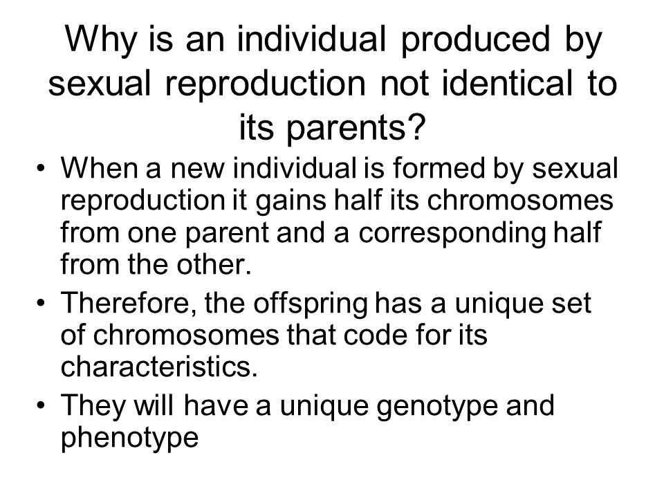 Why is an individual produced by sexual reproduction not identical to its parents