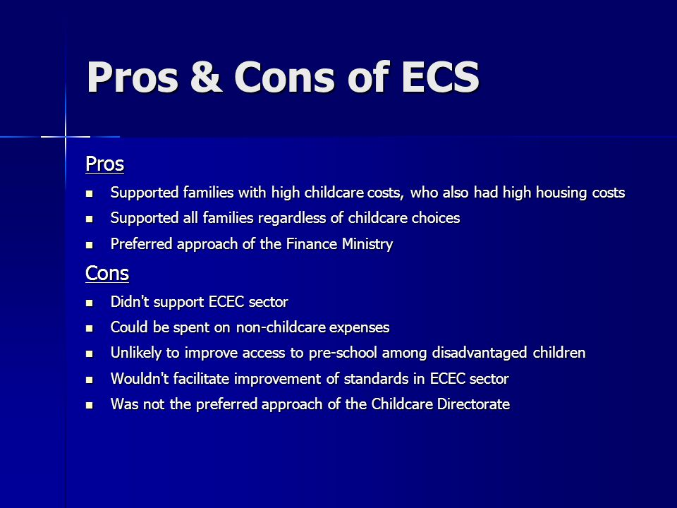 Pros & Cons of ECS Pros Cons