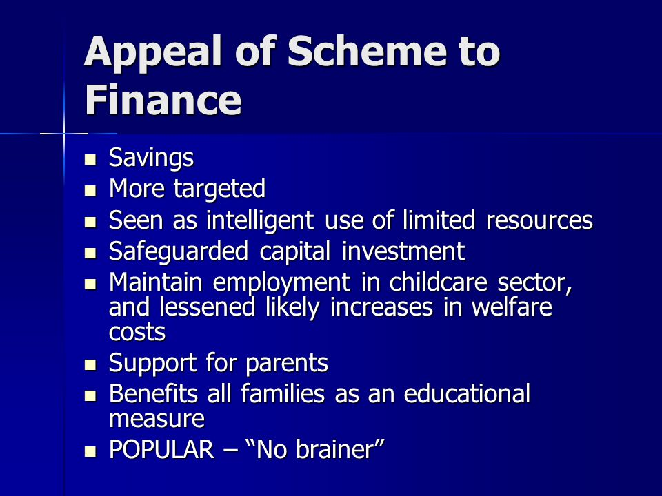 Appeal of Scheme to Finance