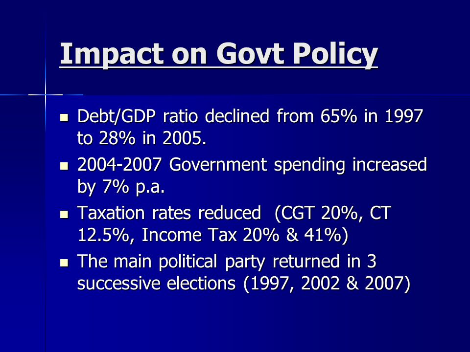 Impact on Govt Policy Debt/GDP ratio declined from 65% in 1997 to 28% in 2005. 2004-2007 Government spending increased by 7% p.a.
