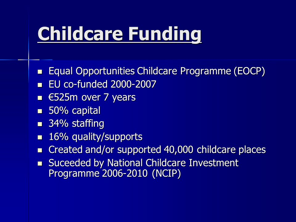 Childcare Funding Equal Opportunities Childcare Programme (EOCP)