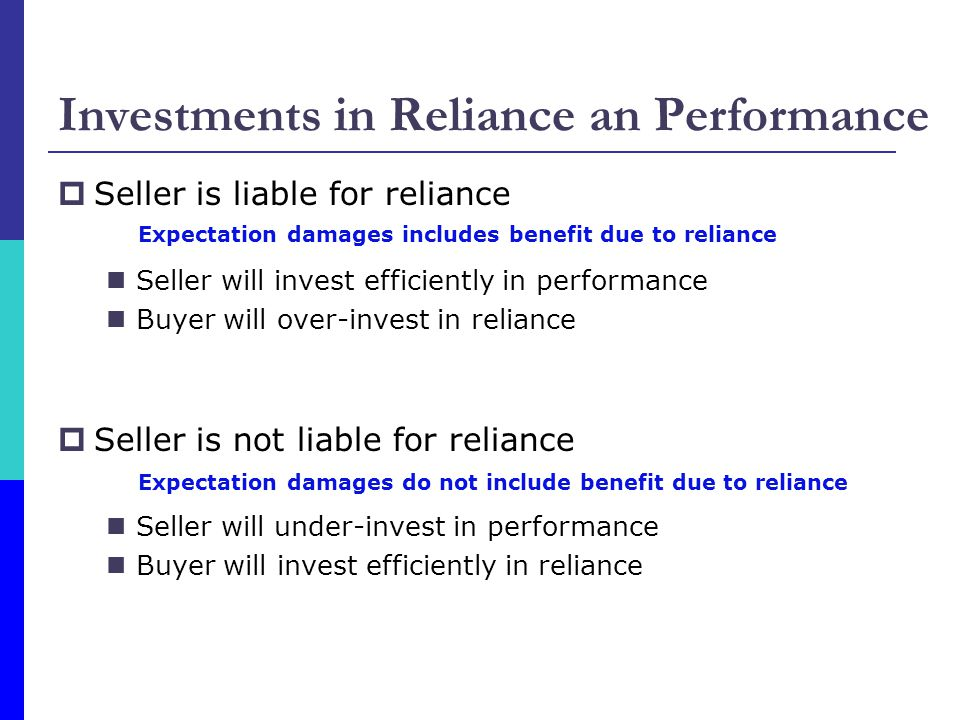 Investments in Reliance an Performance