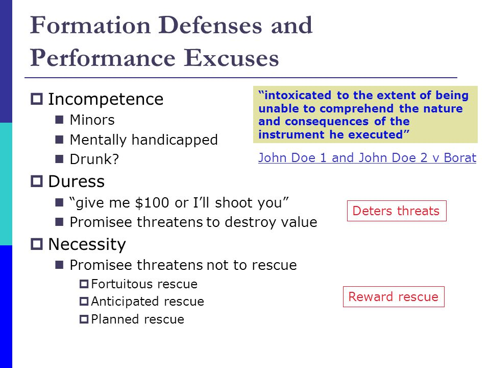Formation Defenses and Performance Excuses