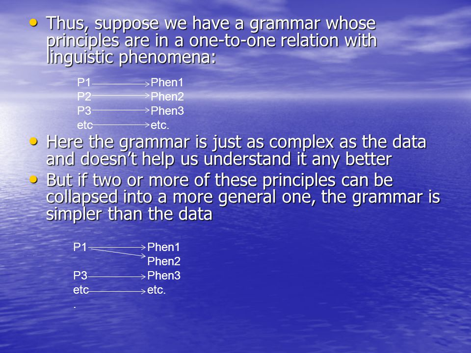 Thus, suppose we have a grammar whose principles are in a one-to-one relation with linguistic phenomena: