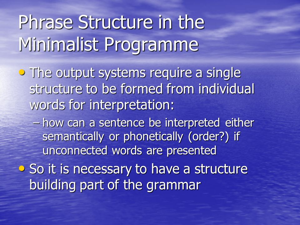 Phrase Structure in the Minimalist Programme
