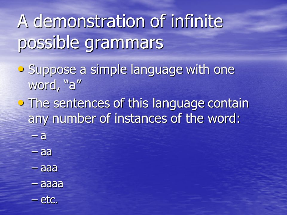 A demonstration of infinite possible grammars