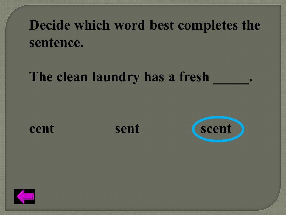 Decide which word best completes the