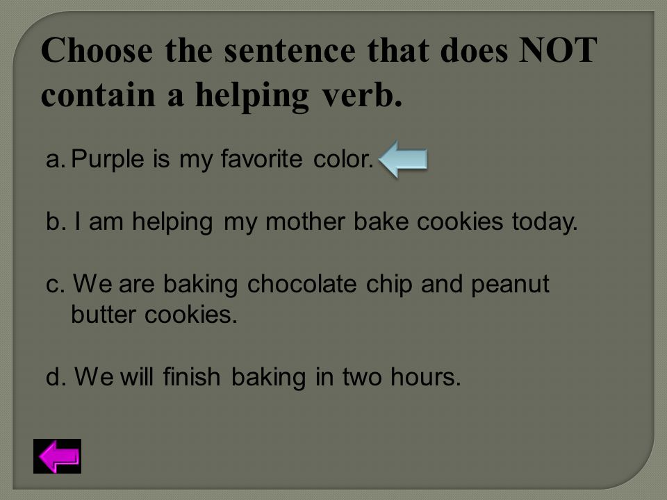 Choose the sentence that does NOT contain a helping verb.