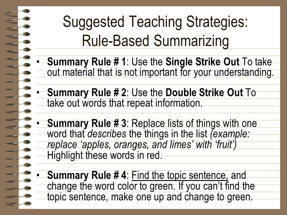 Suggested Teaching Strategies: Rule-Based Summarizing