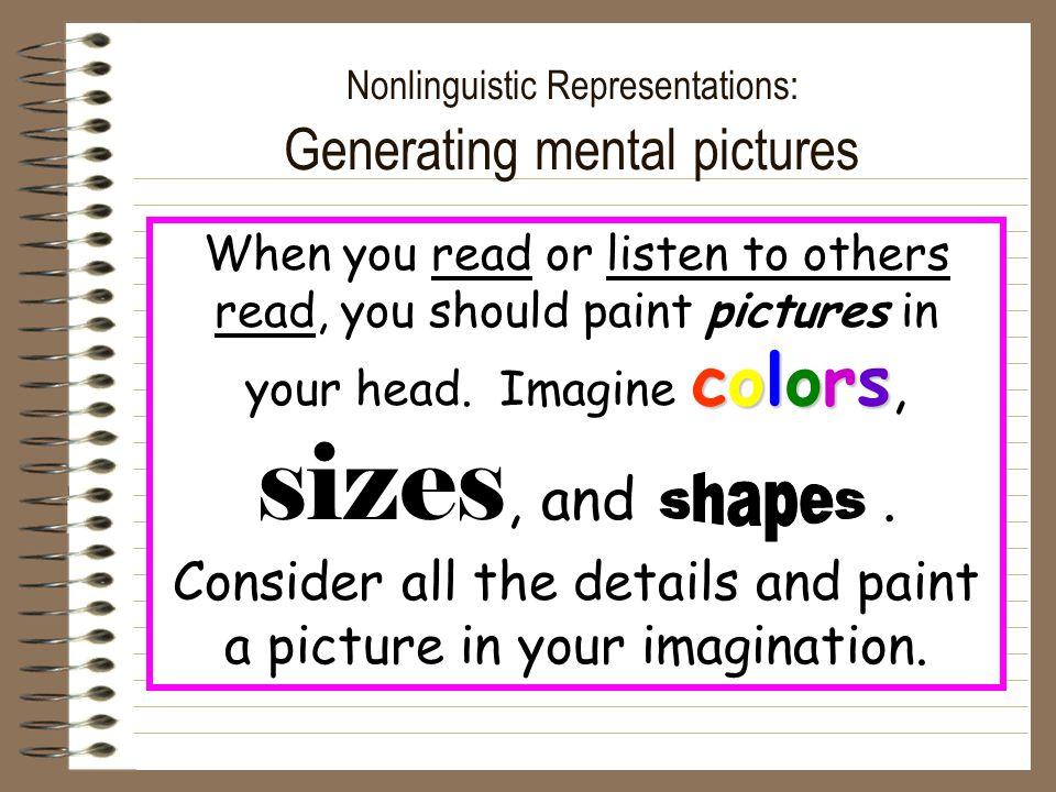 Nonlinguistic Representations: Generating mental pictures
