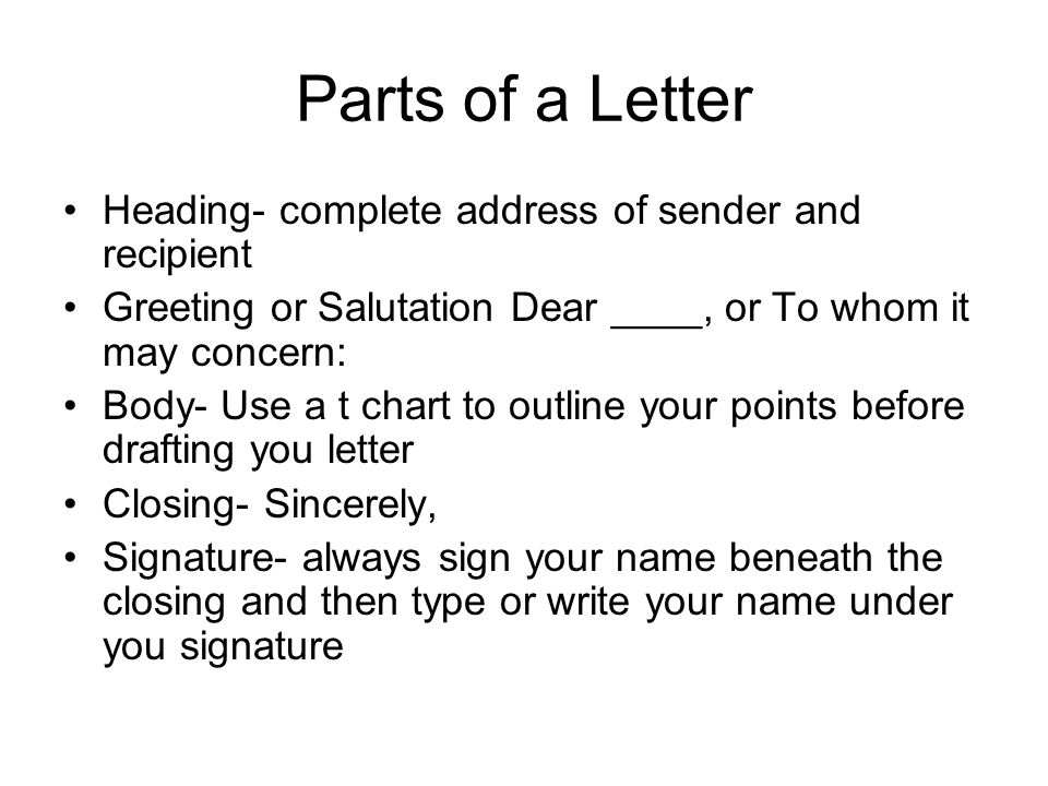 Parts of a Letter Heading- complete address of sender and recipient