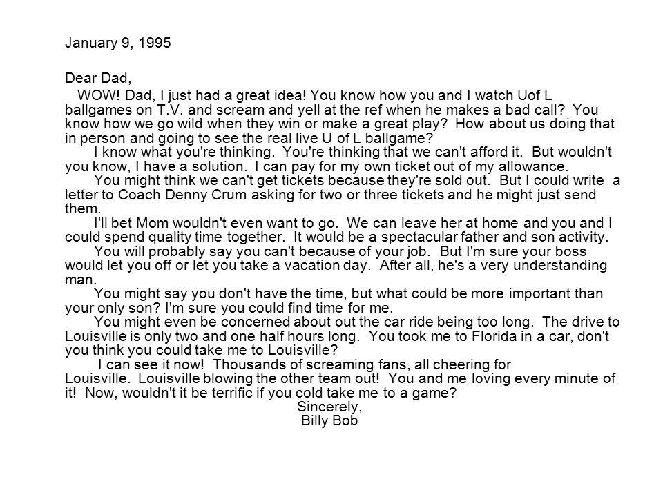 January 9, 1995 Dear Dad,