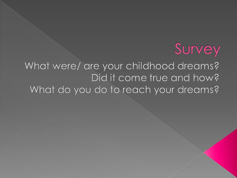 Survey What were/ are your childhood dreams Did it come true and how