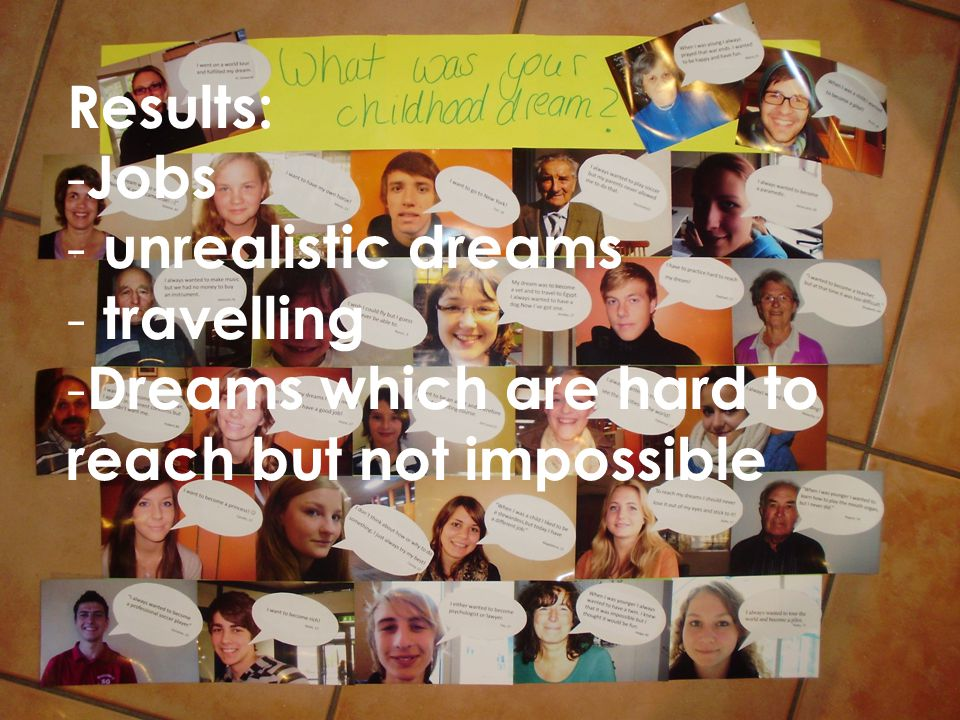 Results: Jobs unrealistic dreams travelling Dreams which are hard to reach but not impossible