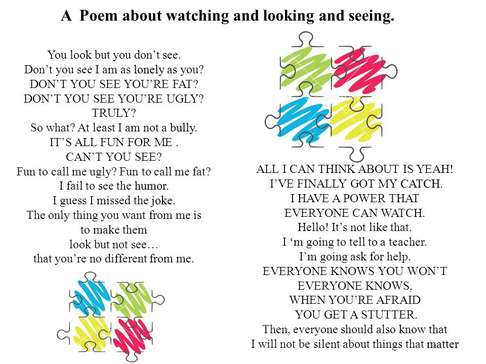 A Poem about watching and looking and seeing.