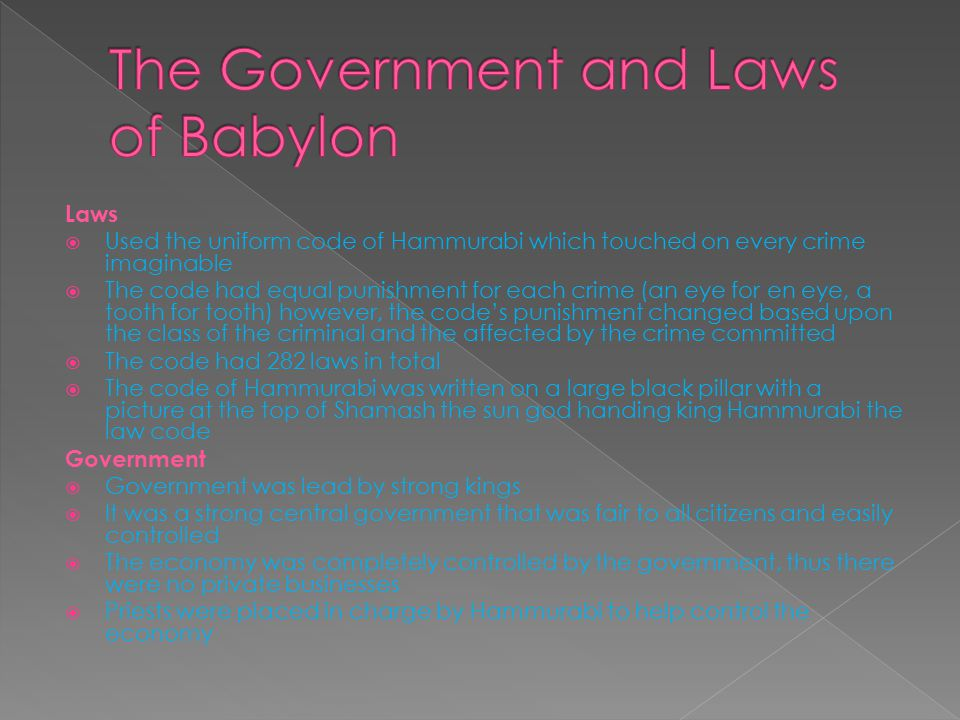 The Government and Laws of Babylon