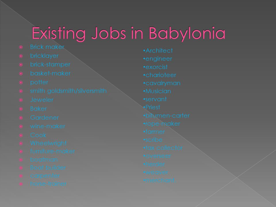 Existing Jobs in Babylonia