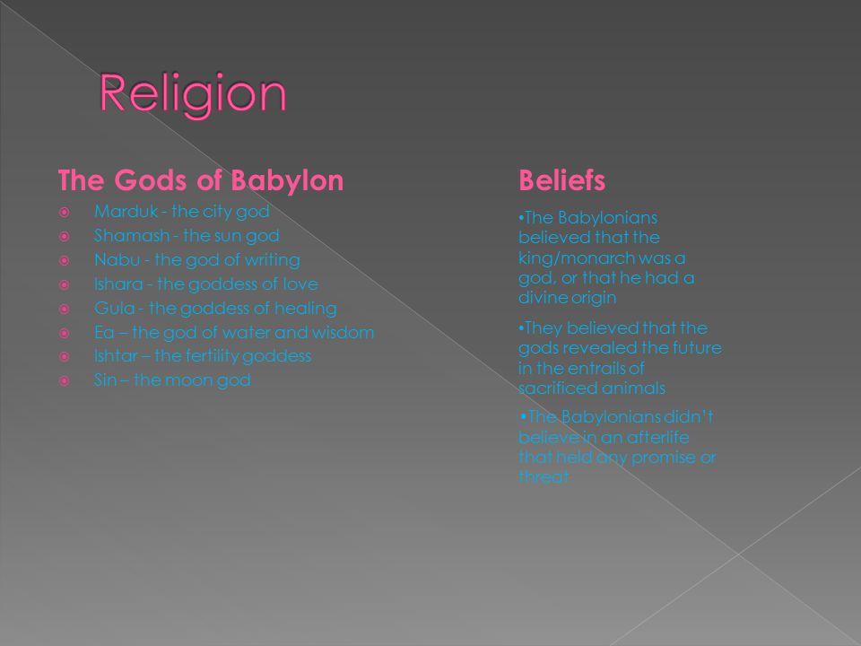 Religion The Gods of Babylon Beliefs Marduk - the city god