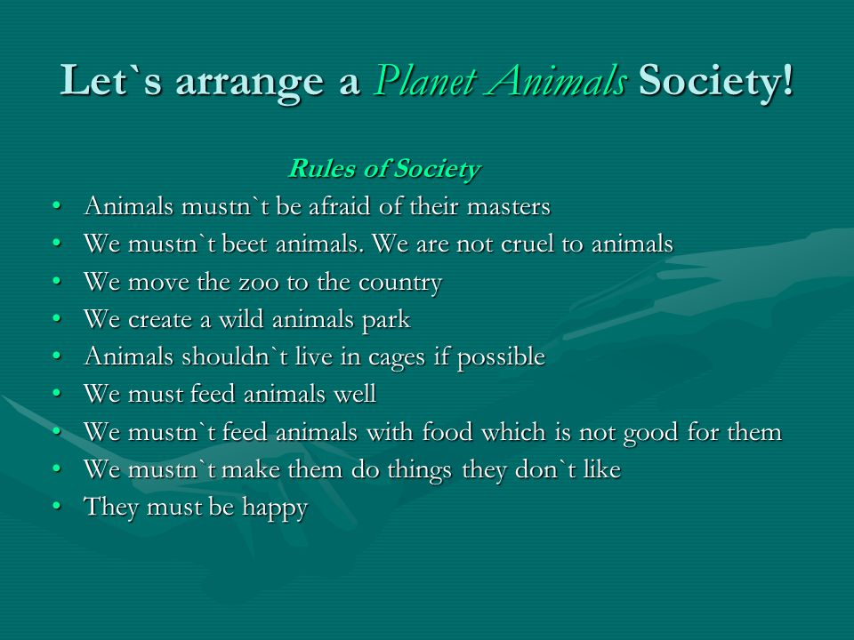Let`s arrange a Planet Animals Society!