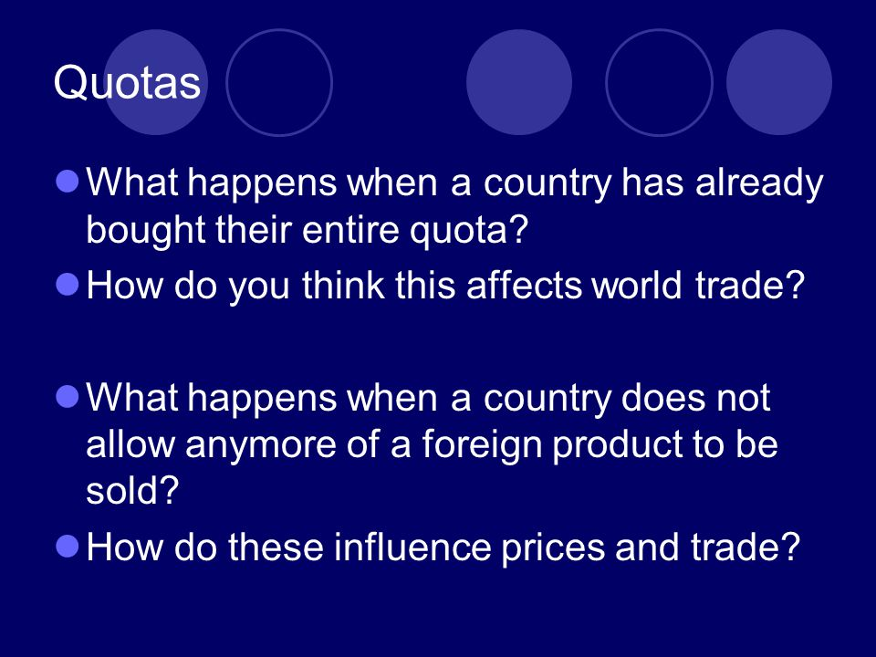 Quotas What happens when a country has already bought their entire quota How do you think this affects world trade