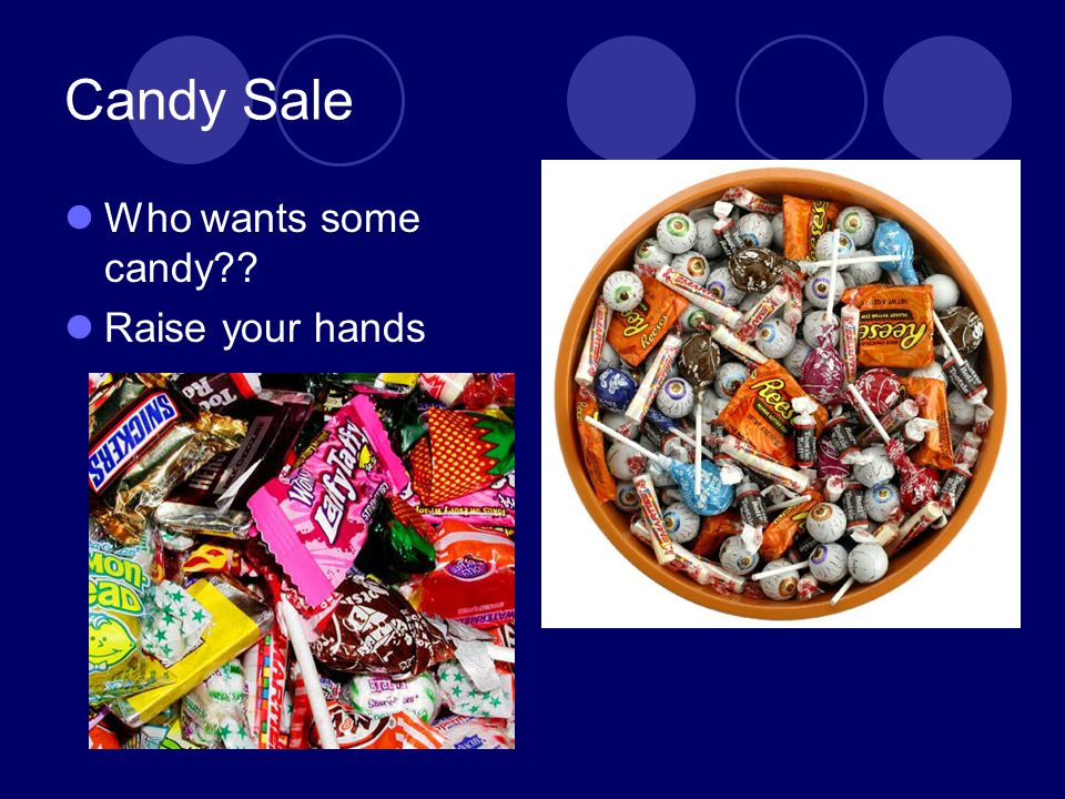 Candy Sale Who wants some candy Raise your hands