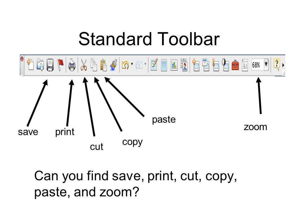 Standard Toolbar Can you find save, print, cut, copy, paste, and zoom