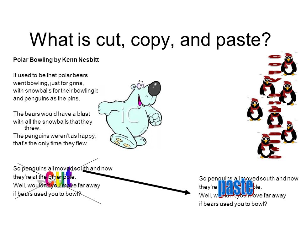 What is cut, copy, and paste