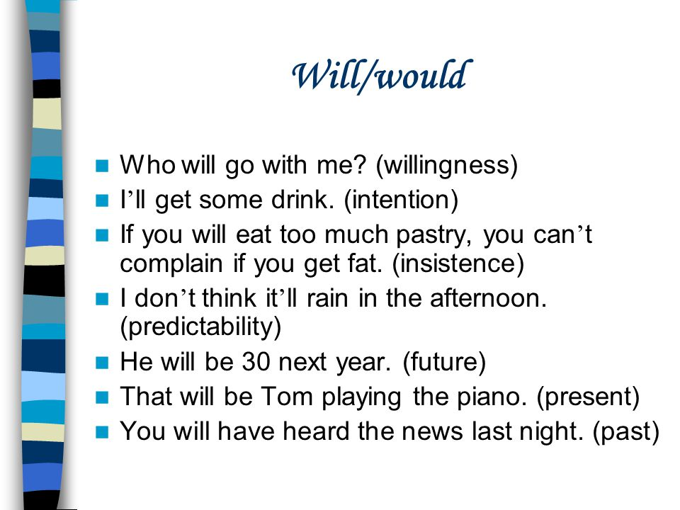 Will/would Who will go with me (willingness)