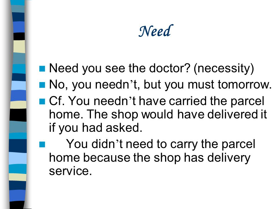 Need Need you see the doctor (necessity)