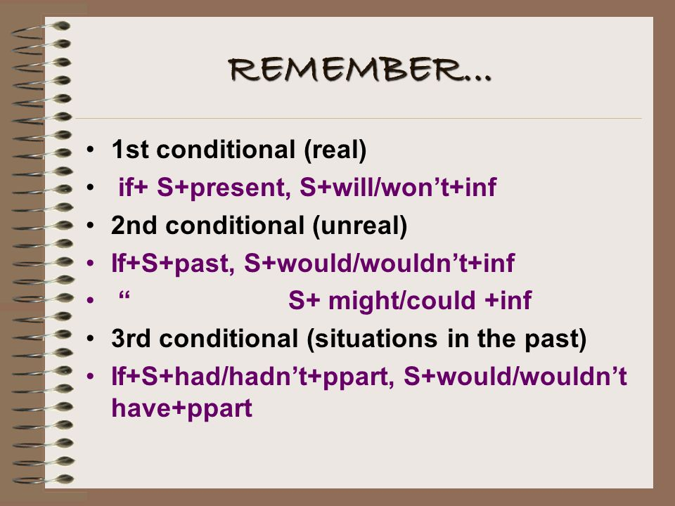 REMEMBER... 1st conditional (real) if+ S+present, S+will/won't+inf