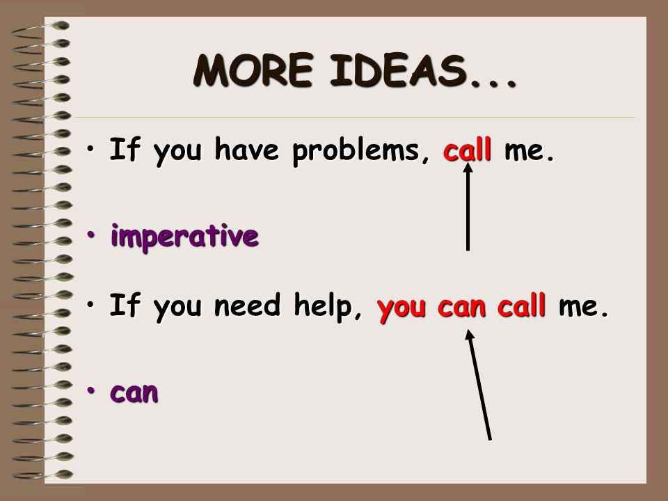 MORE IDEAS... If you have problems, call me. imperative