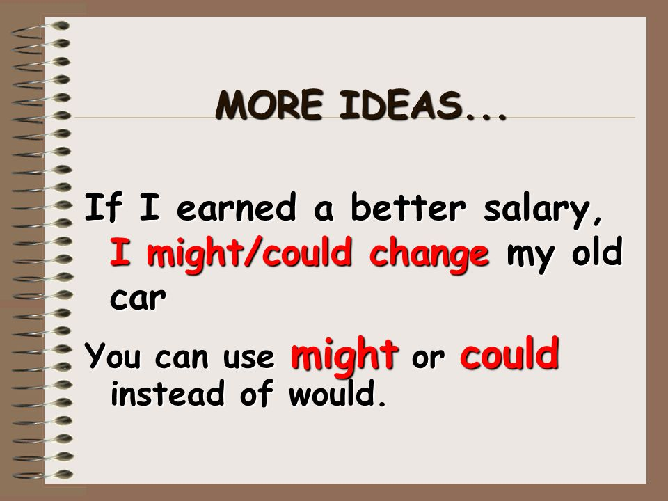 If I earned a better salary, I might/could change my old car
