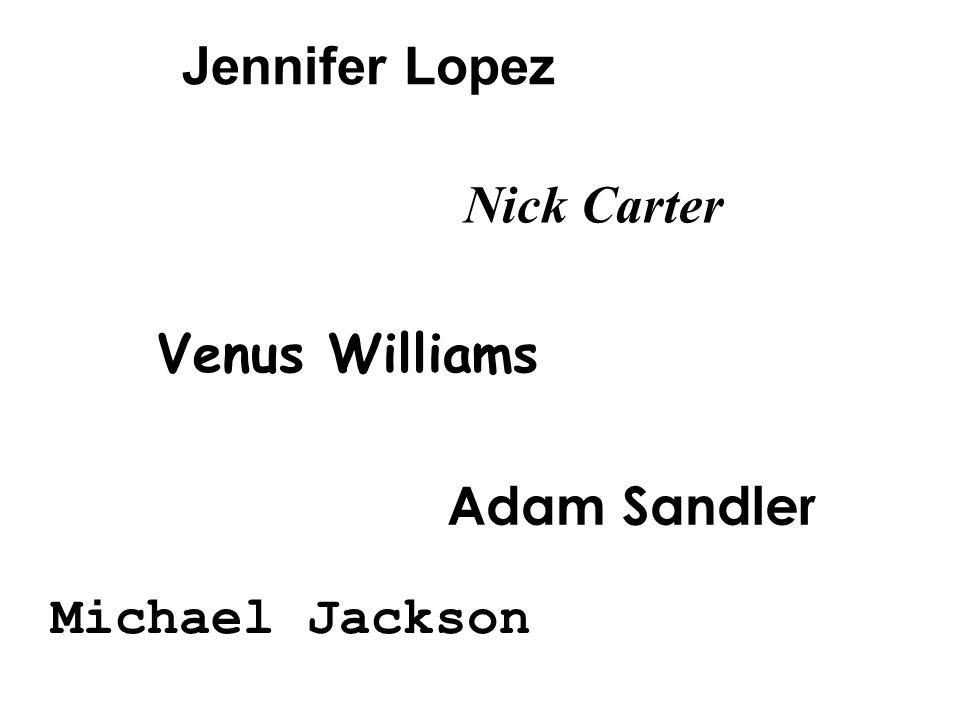 Jennifer Lopez Nick Carter Venus Williams Adam Sandler Michael Jackson