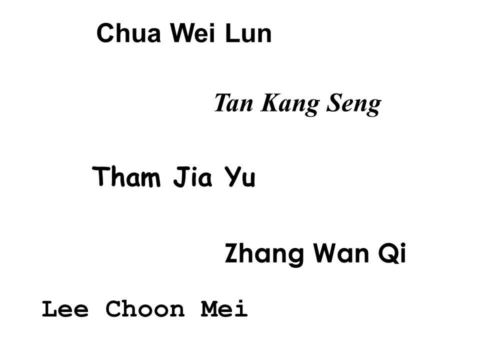 Chua Wei Lun Tan Kang Seng Tham Jia Yu Zhang Wan Qi Lee Choon Mei