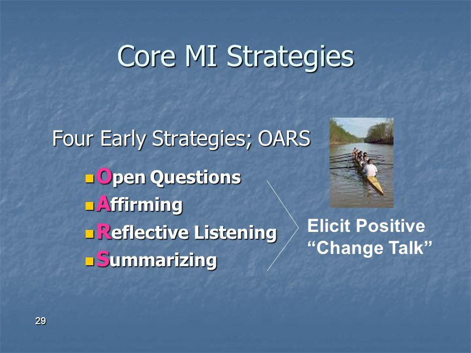 Core MI Strategies Four Early Strategies; OARS Open Questions