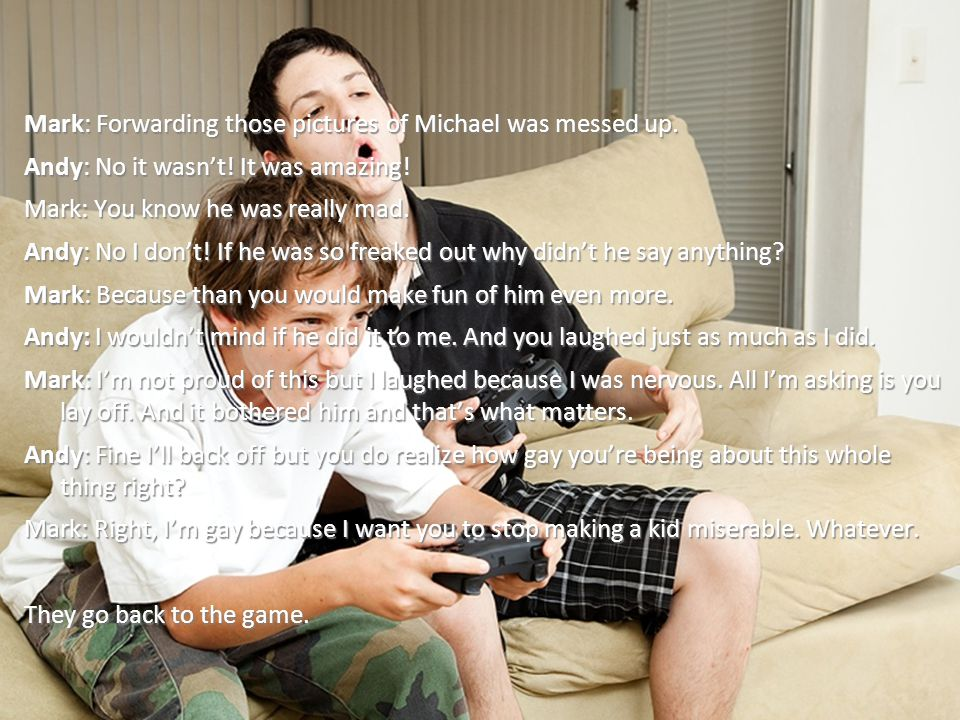 Mark: Forwarding those pictures of Michael was messed up.