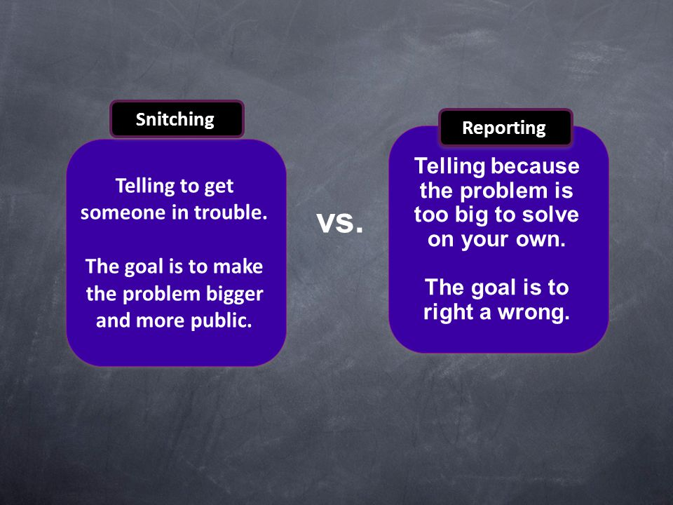 vs. Telling because the problem is too big to solve on your own.