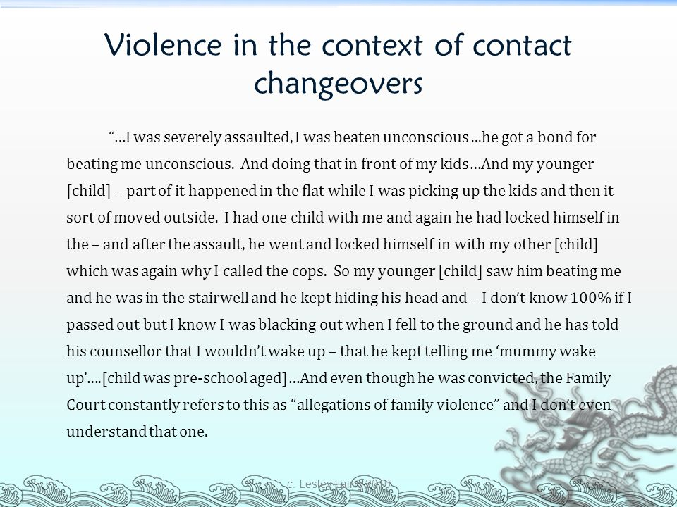 Violence in the context of contact changeovers