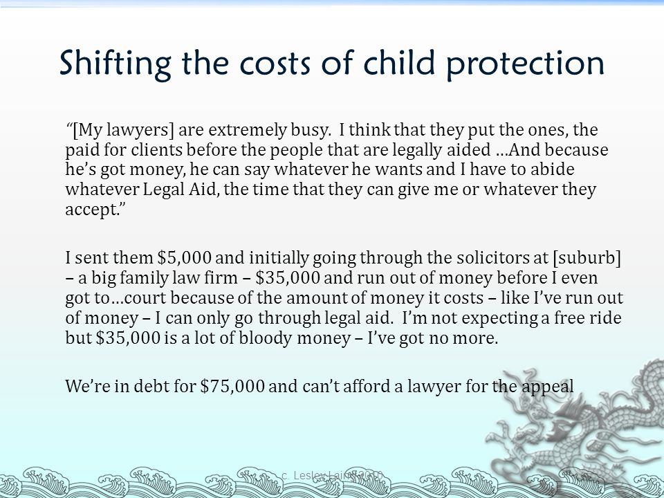 Shifting the costs of child protection