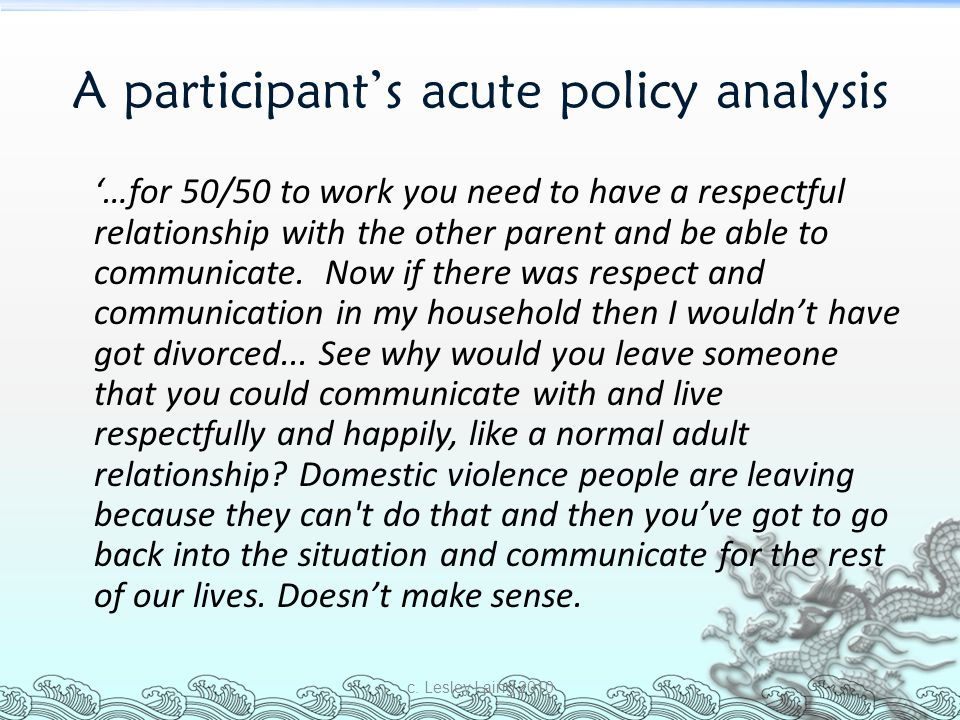 A participant's acute policy analysis