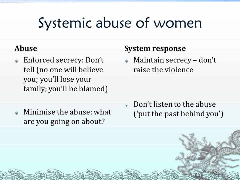 Systemic abuse of women
