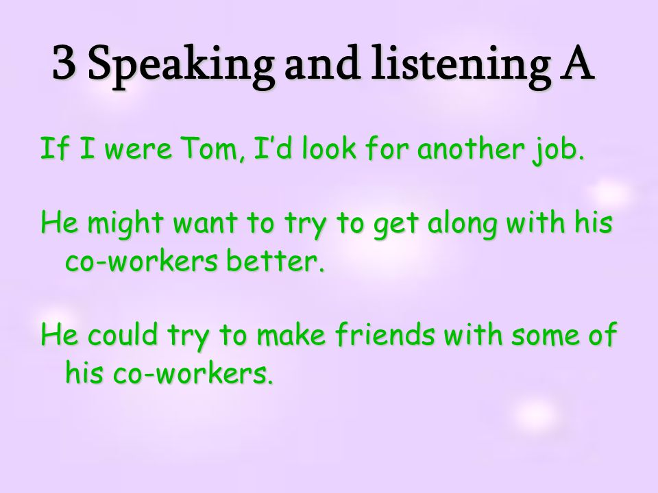 3 Speaking and listening A