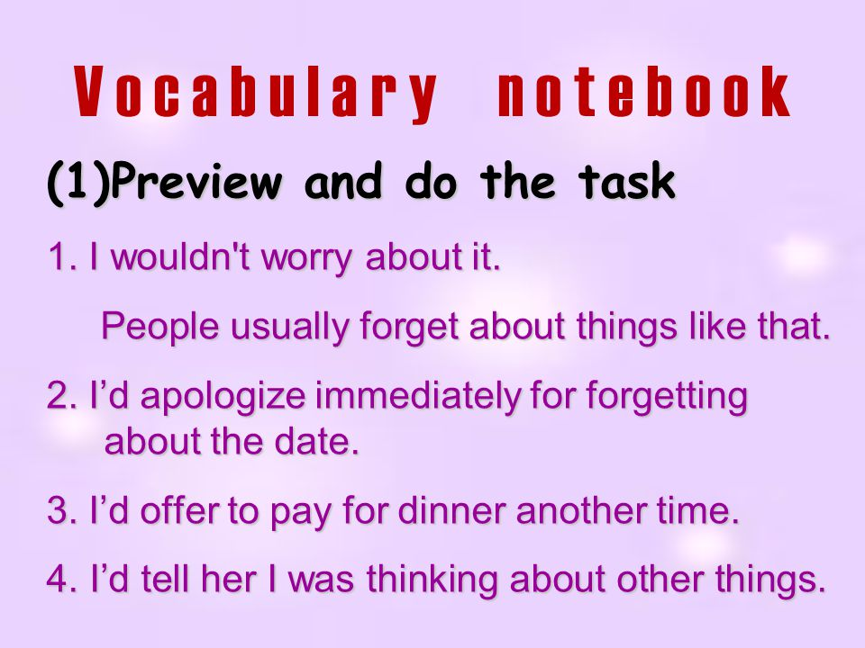 Vocabulary notebook Preview and do the task