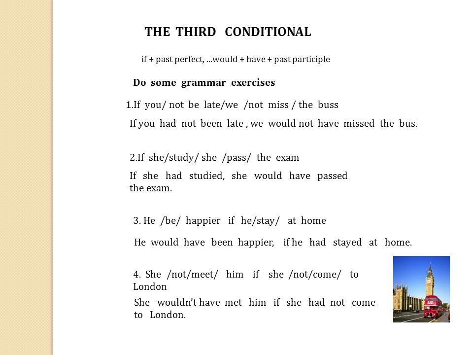 THE THIRD CONDITIONAL Do some grammar exercises
