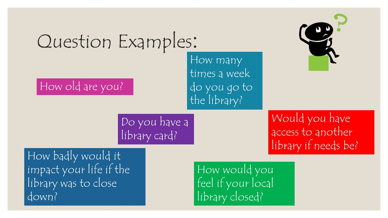 Question Examples: How many times a week do you go to the library