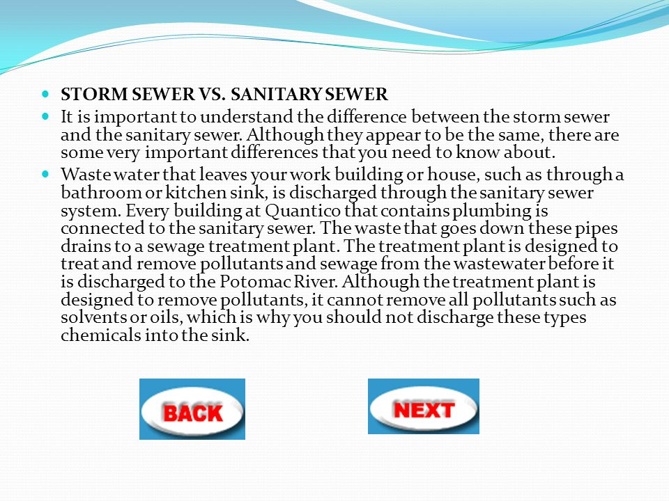 STORM SEWER VS. SANITARY SEWER