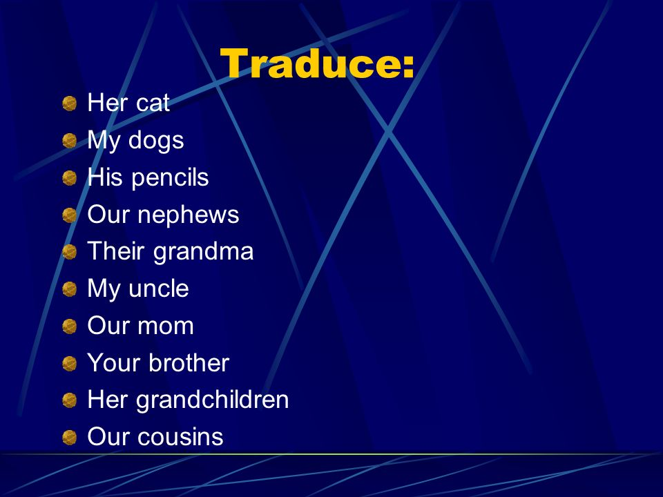 Traduce: Her cat My dogs His pencils Our nephews Their grandma