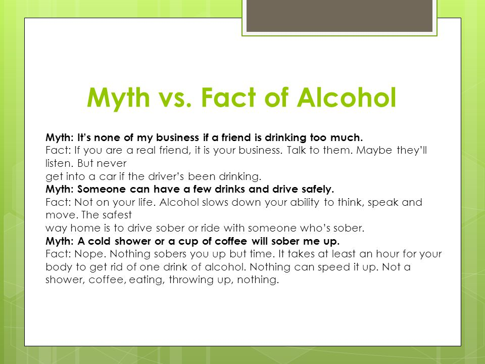 Myth vs. Fact of Alcohol Myth: It's none of my business if a friend is drinking too much.