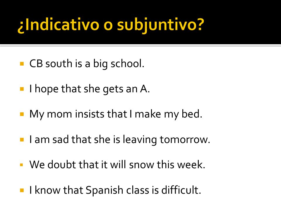 ¿Indicativo o subjuntivo